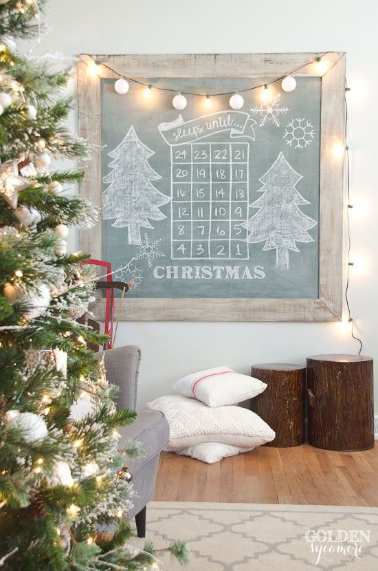 christmas extra large vintage green chalkboard - Vintage Rustic Christmas Decorations