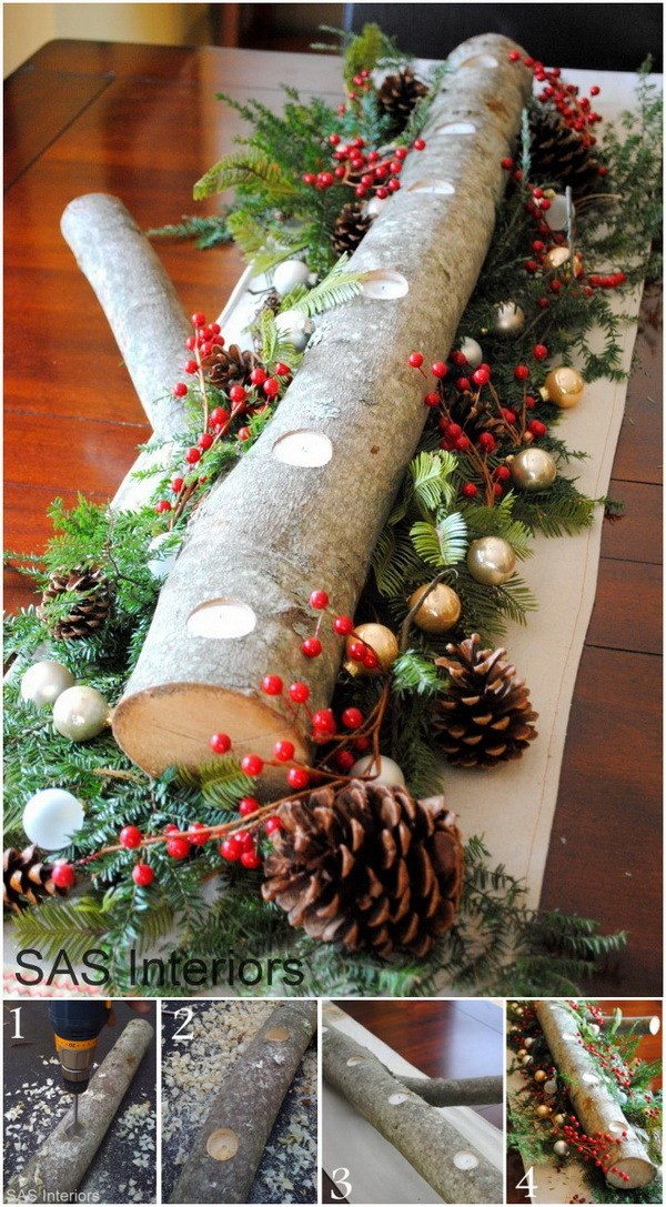 diy log candle holder centerpiece - Christmas Log Candle Holder Decorations