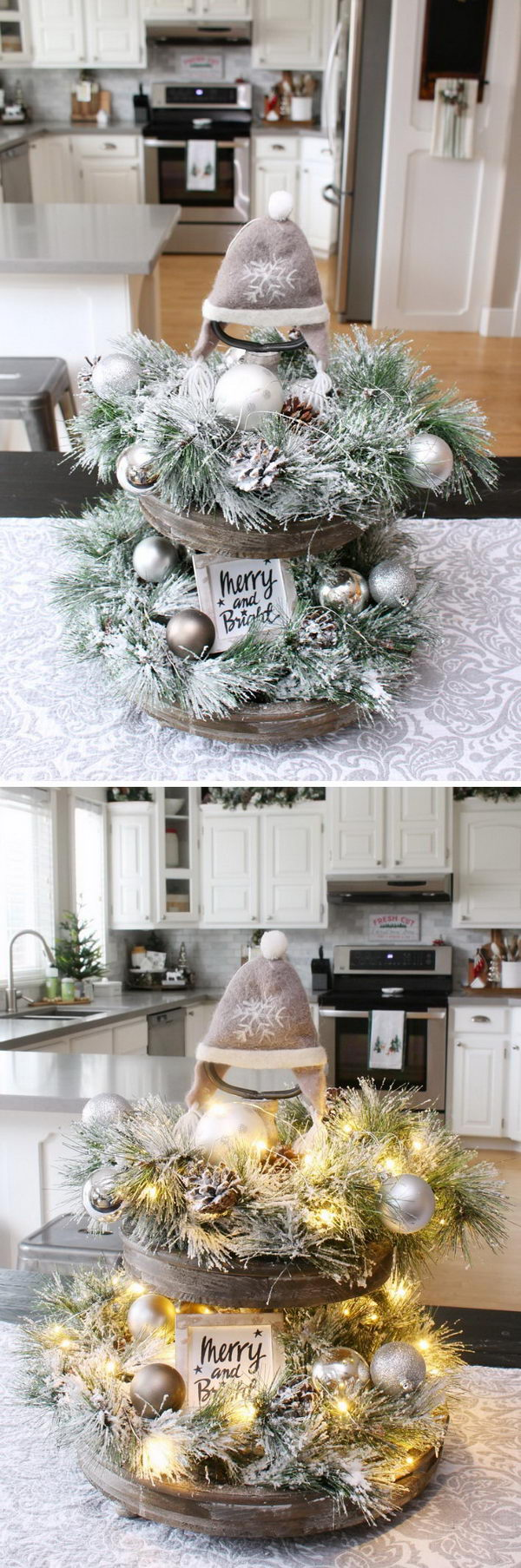 Rustic Light Up Christmas Tray
