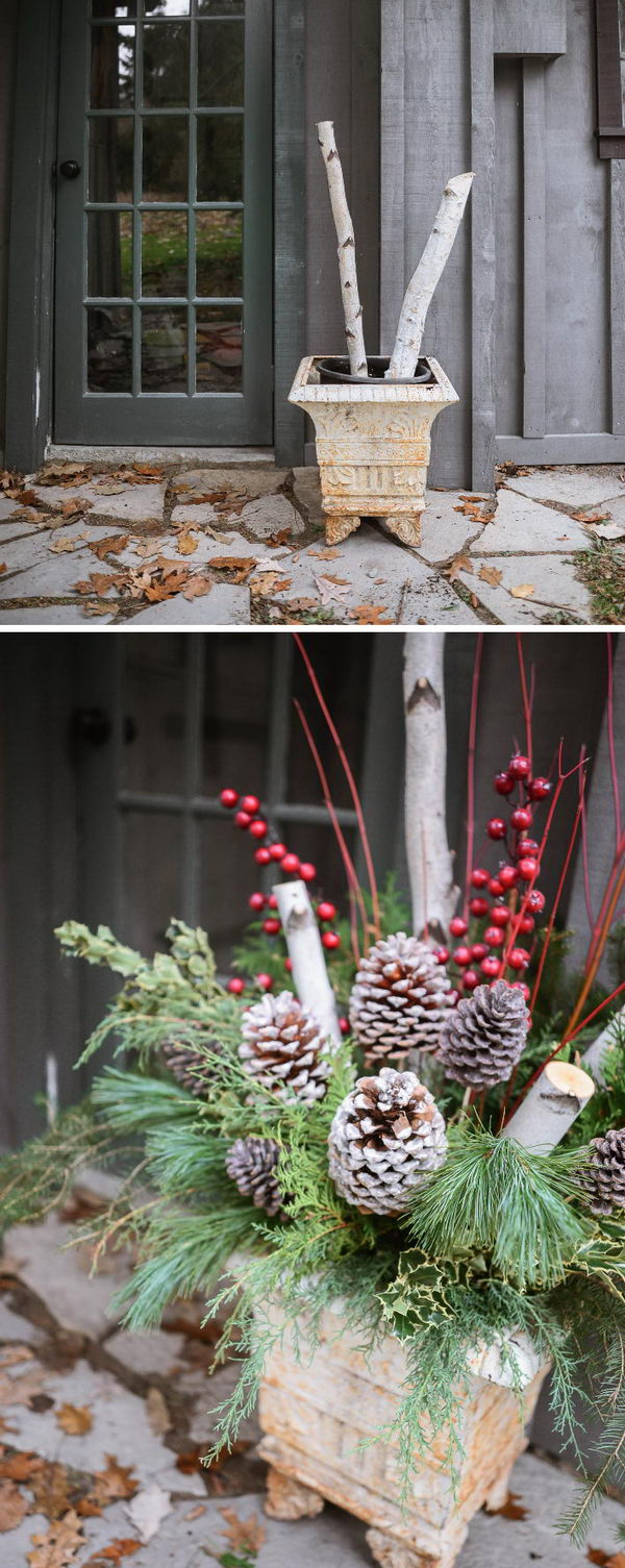 rustic outdoor christmas planters - Rustic Outdoor Christmas Decorations