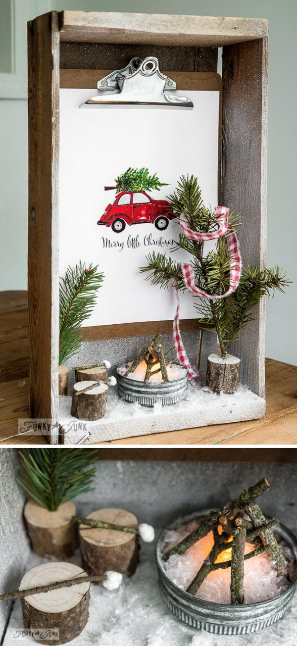 Rustic Crate Shadow Box Snow Scene.