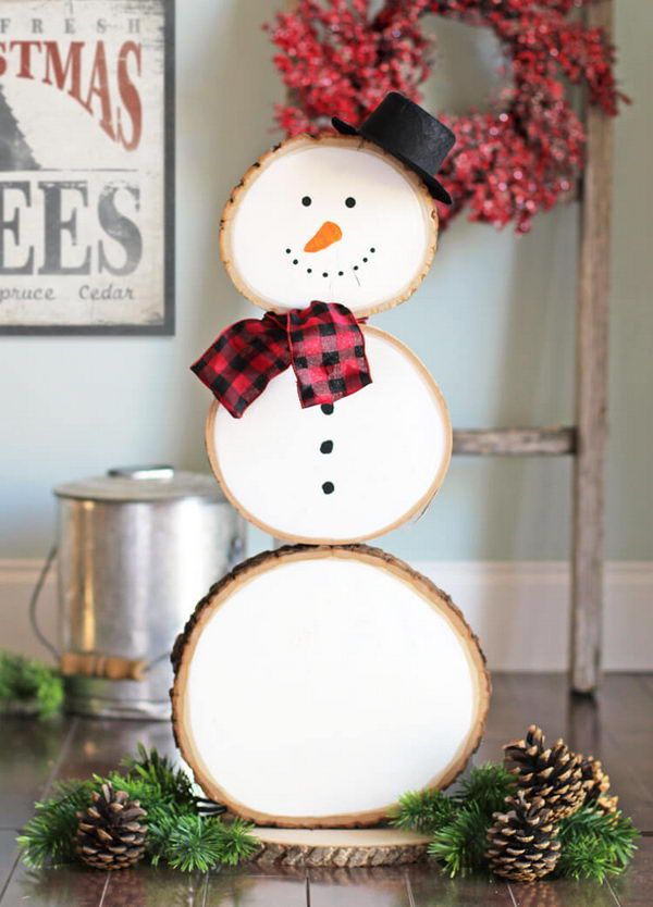 Cute Wood Slice Snowman.