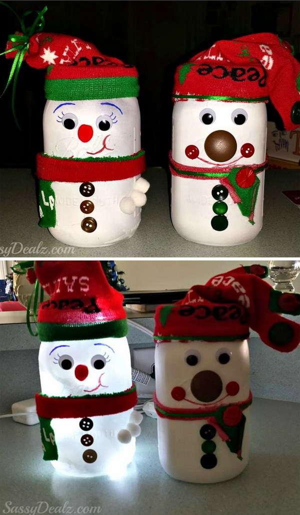 DIY Snowman Mason Jar Light.