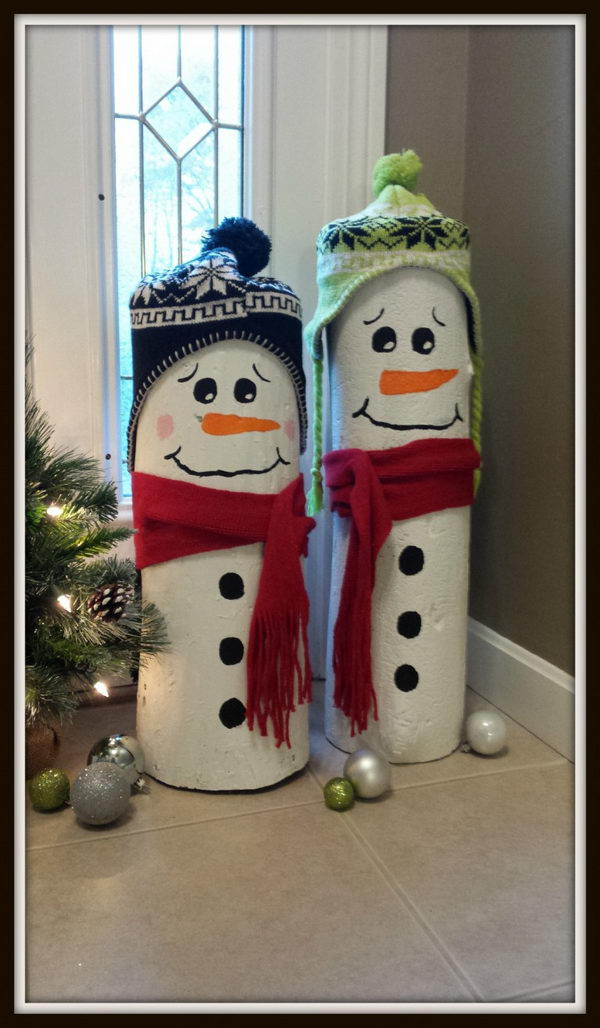 DIY Log Snowmen.