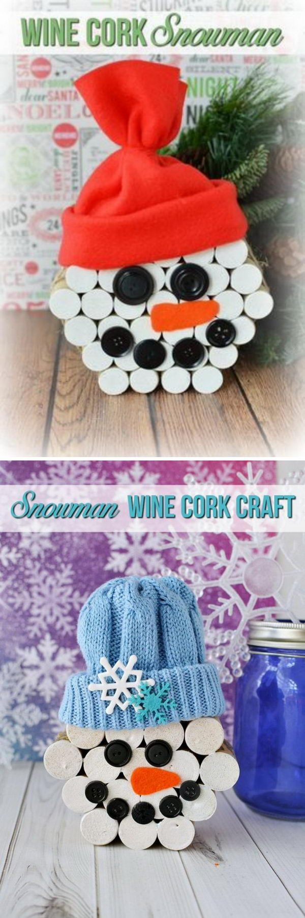 DIY Wine Cock Snowmen.