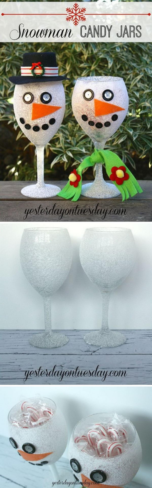 DIY Snowman Candy Jars Made With Wine Glasses.