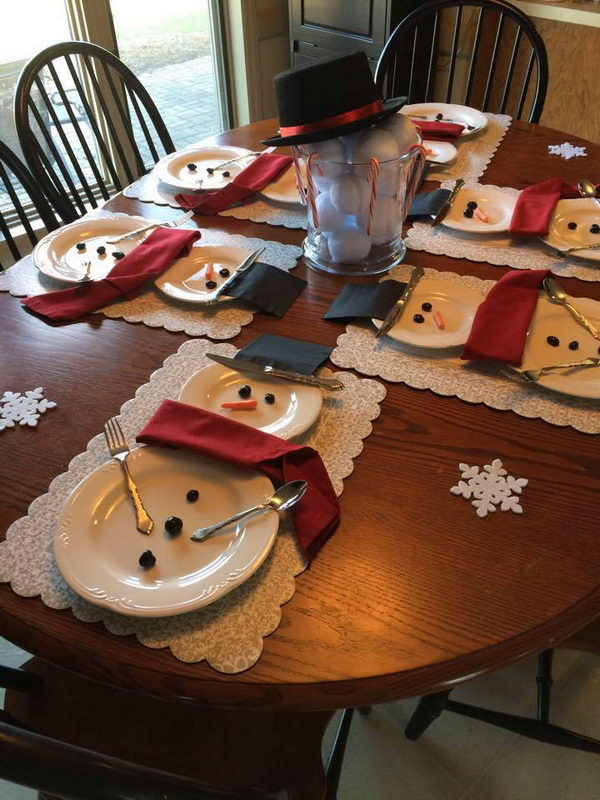 Snowman Table Setting.