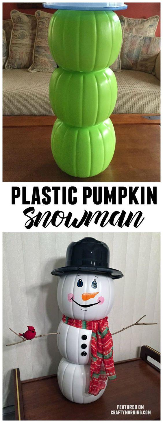 Plastic Pumpkin Snowman.