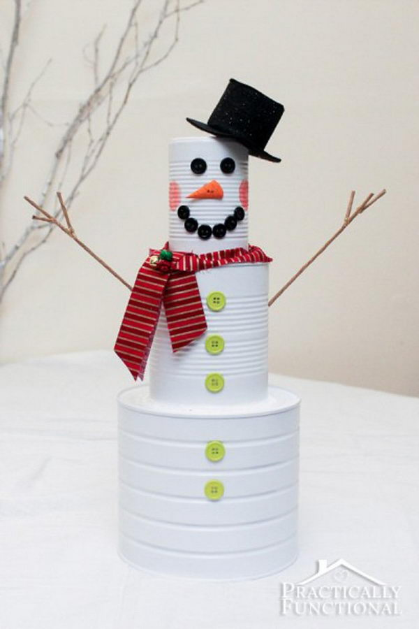 Adorable Tin Can Snowman.