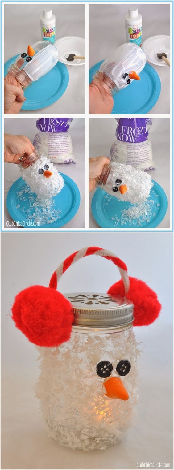 DIY Snowman Mason Jar Luminary.