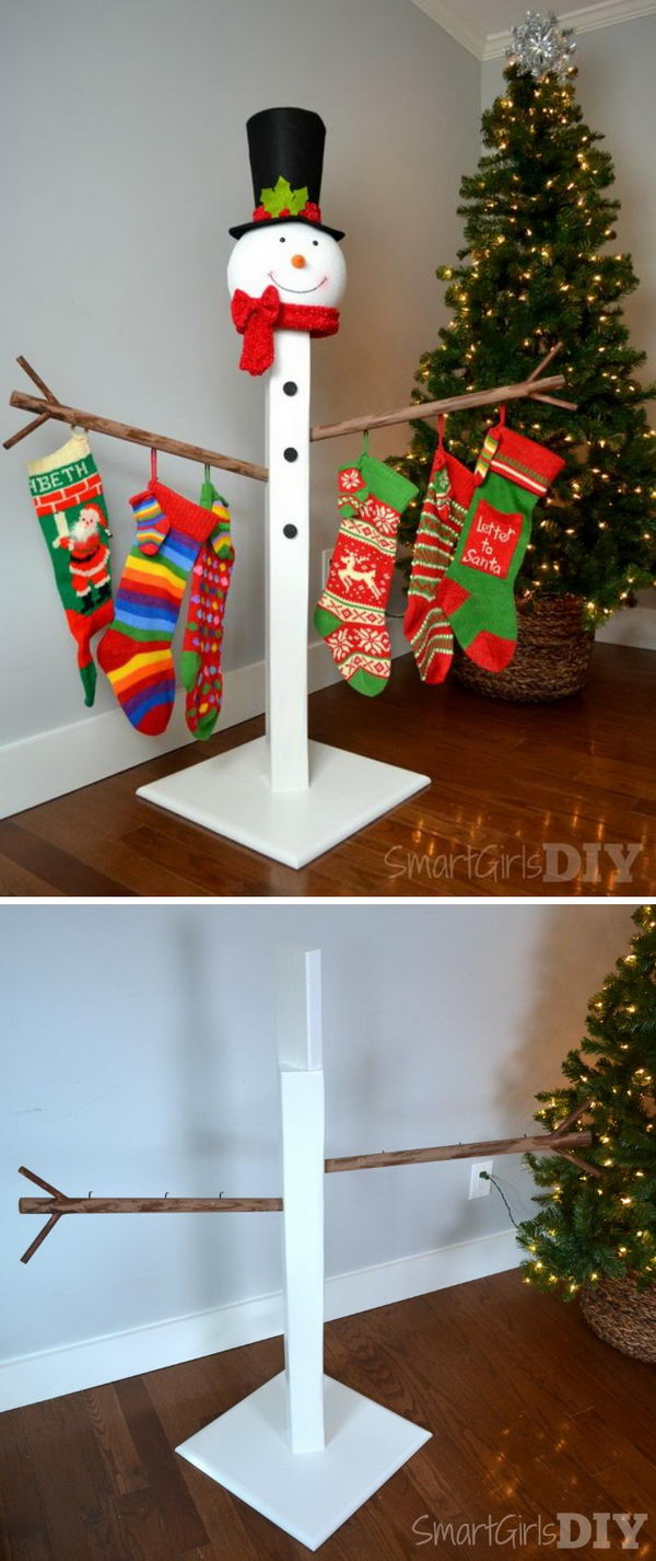 Snowman Christmas Stocking Holder.