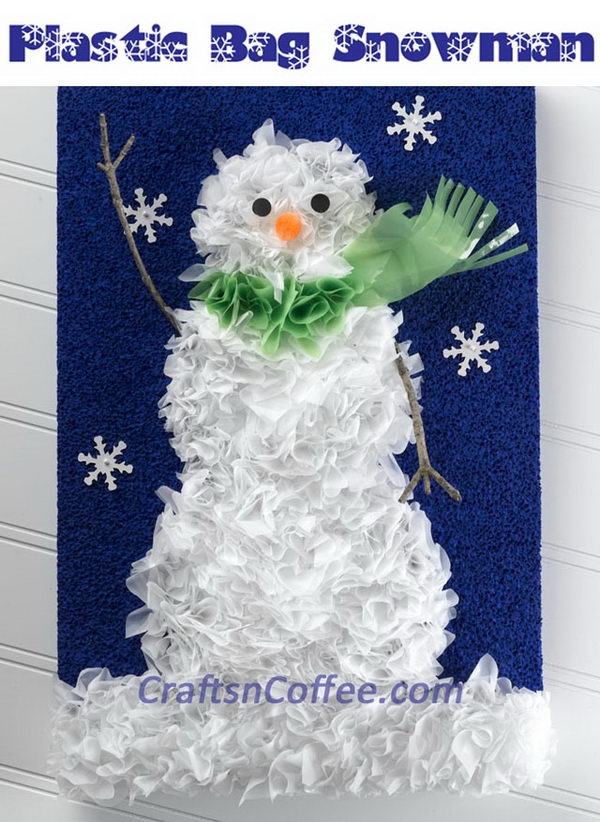 Recycled Plastic Shopping Bags Snowman Wall Art.