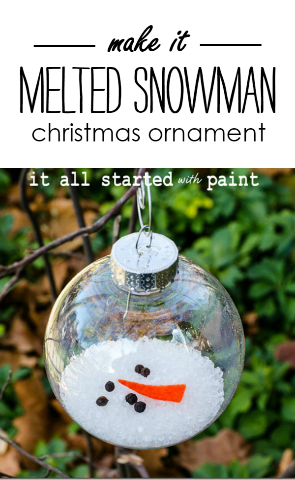 DIY Melted Snowman Ornament.