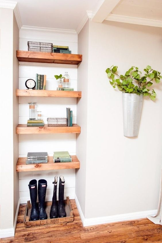 Open Shelves In The Corner For Storage.