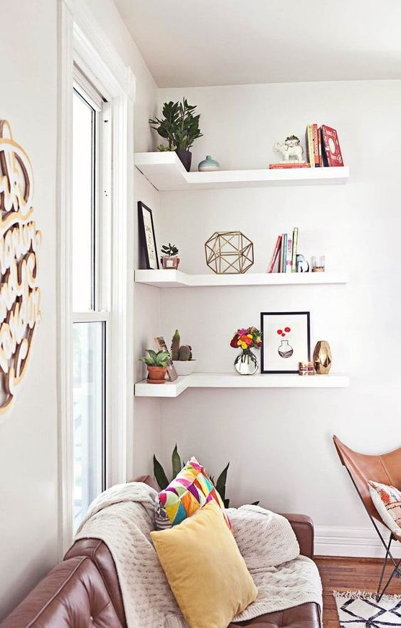 Floating Corner Shelves.