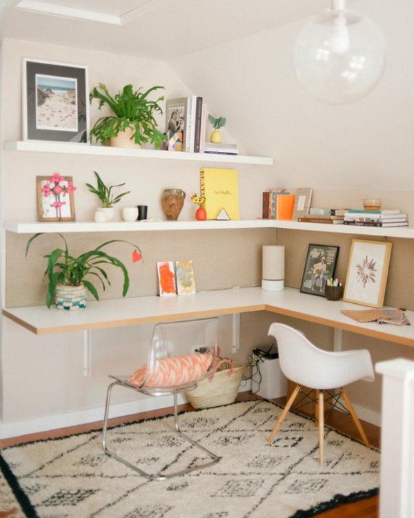 DIY Work Space Using Open Shelves.