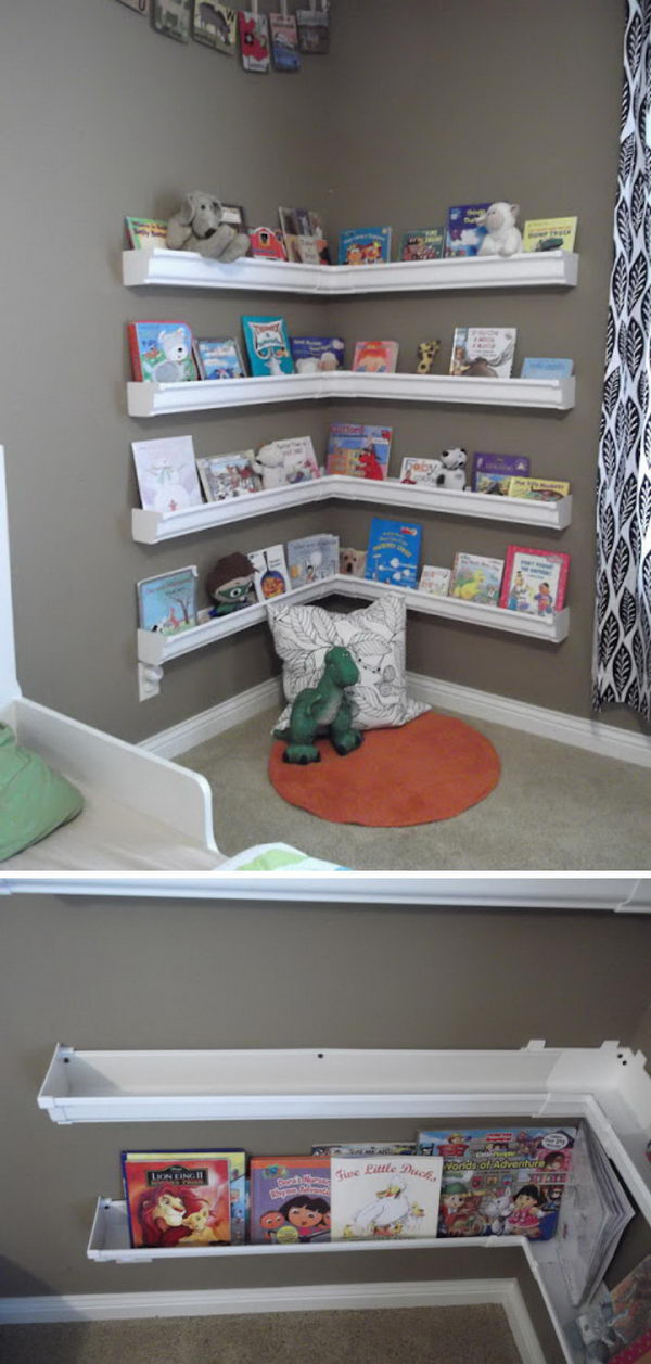DIY Reading Nook Using Rain Gutter Shelves.