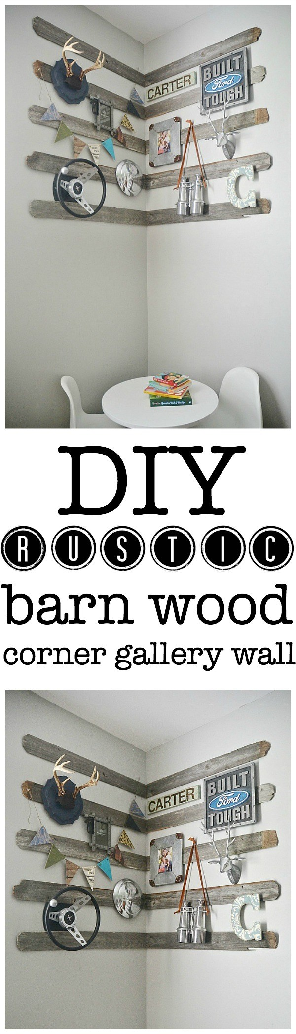DIY Rustic Corner Gallery Wall.