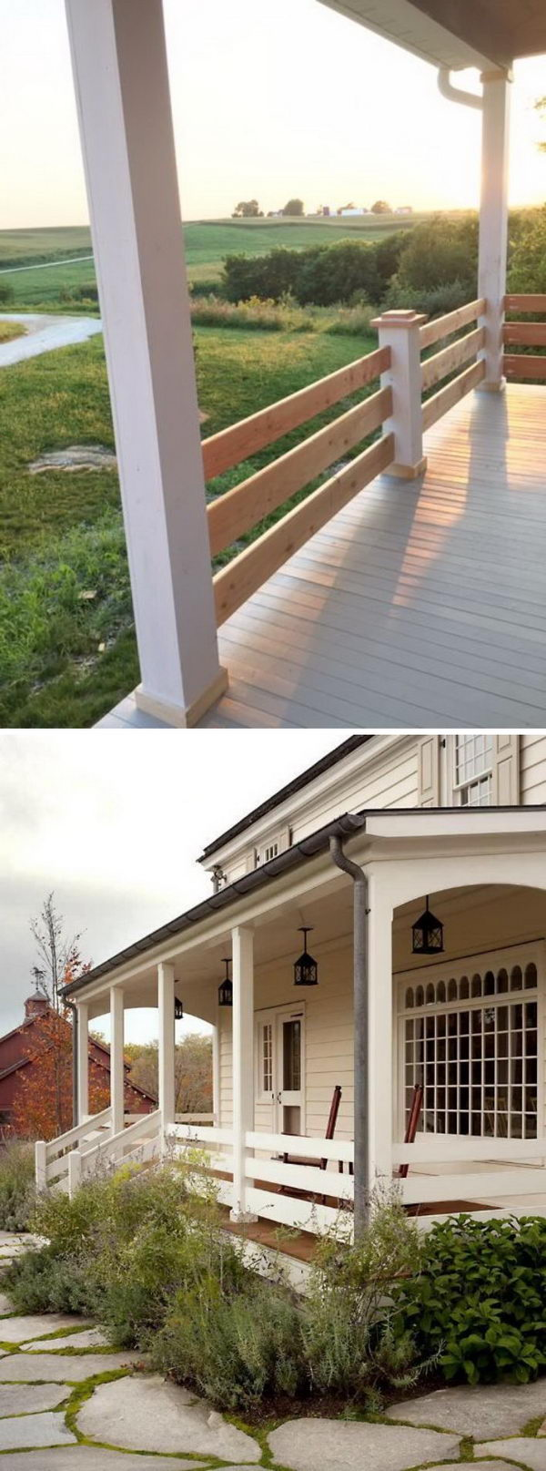 Horizontal Railing On The Porch.