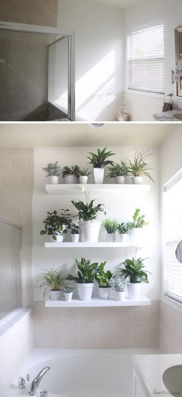 Plant Wall With White Pots And Ikea Lack Shelves.