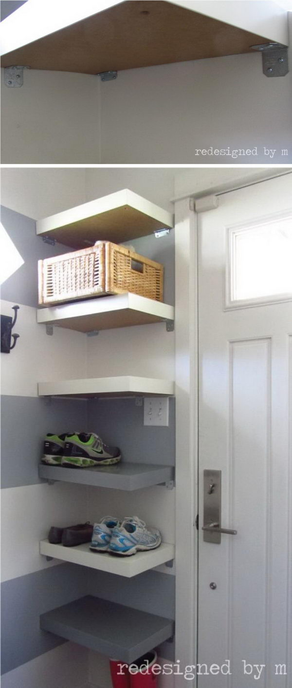 Corner Shelves For Shoes And Baskets.