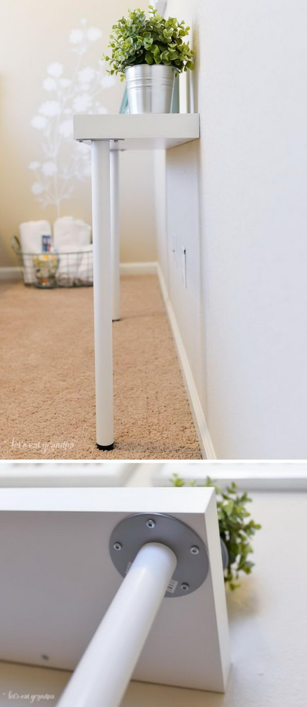 30 ways to hack ikea lack shelves hative for Lack sofa table hack