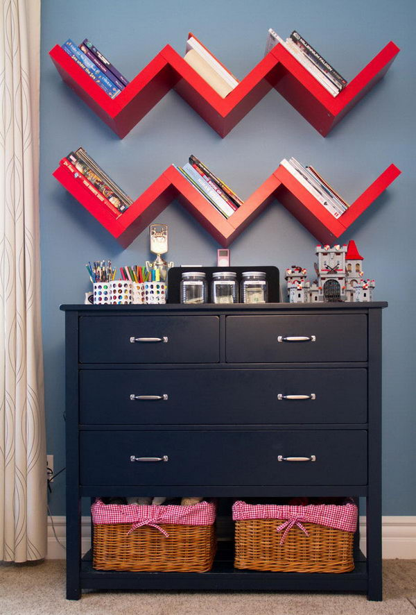 Kids' Room Zigzag Book Storage.