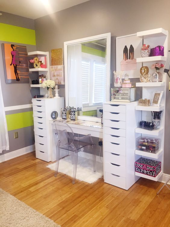 Makeup Studio Made With Ikea Lack Shelves.