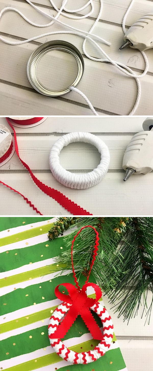 Candy Cane Mason Jar Lid Ornament.