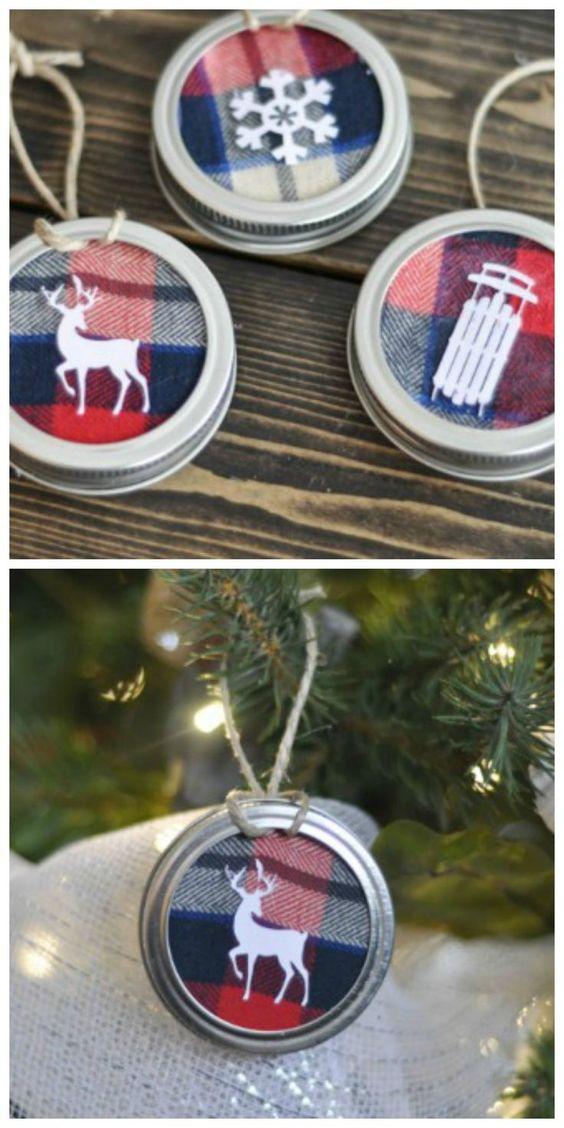 DIY Mason Jar Lid Ornament.