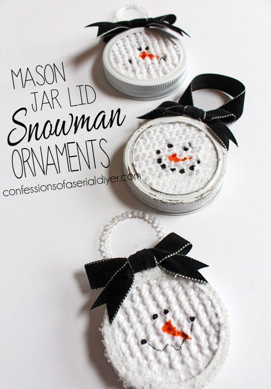 Mason Jar Lid Snowman Ornaments.