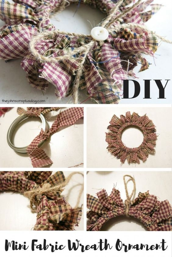 Mason Jar Lid Mini Fabric Wreath Ornaments.