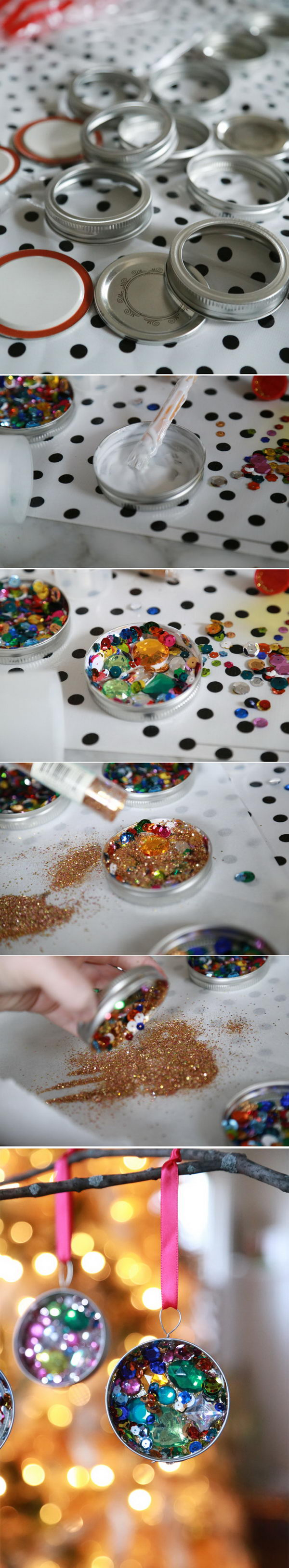 Sequin Mason Jar Lid Ornaments.