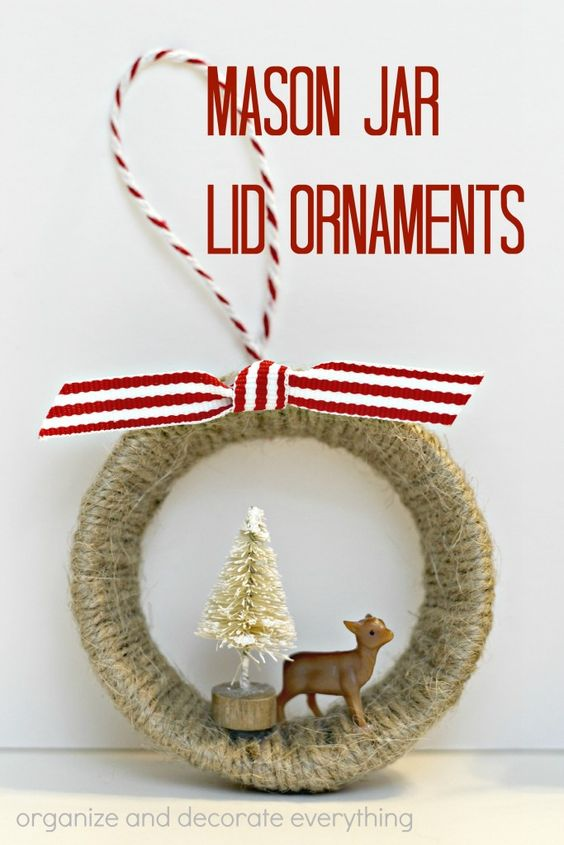 Twine Wrapped Deer And Tree Mason Jar Ornament.