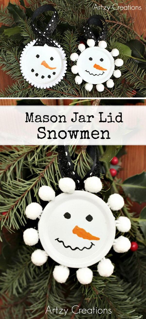 Mason Jar Lid Snowmen Ornaments.