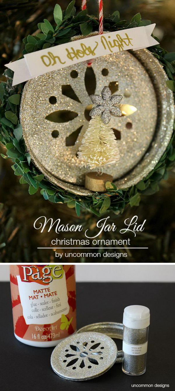 Glitter Mason Jar Lid Christmas Ornament.