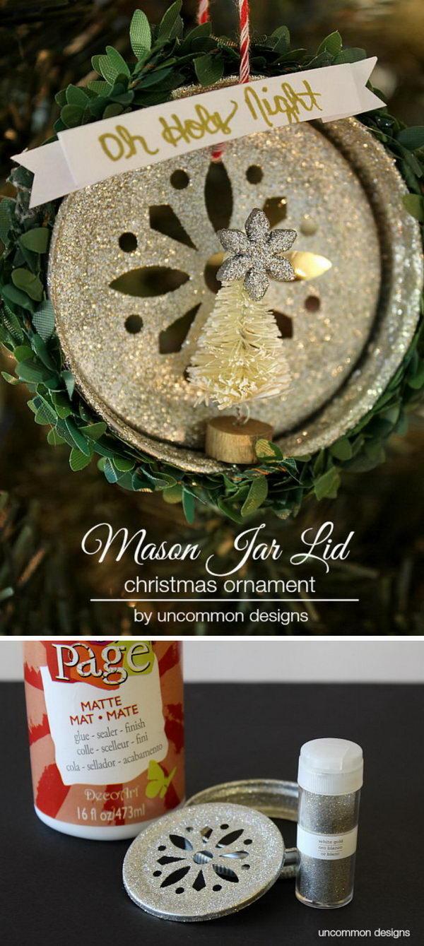 Glitter Mason Jar Lid Christmas Ornament.