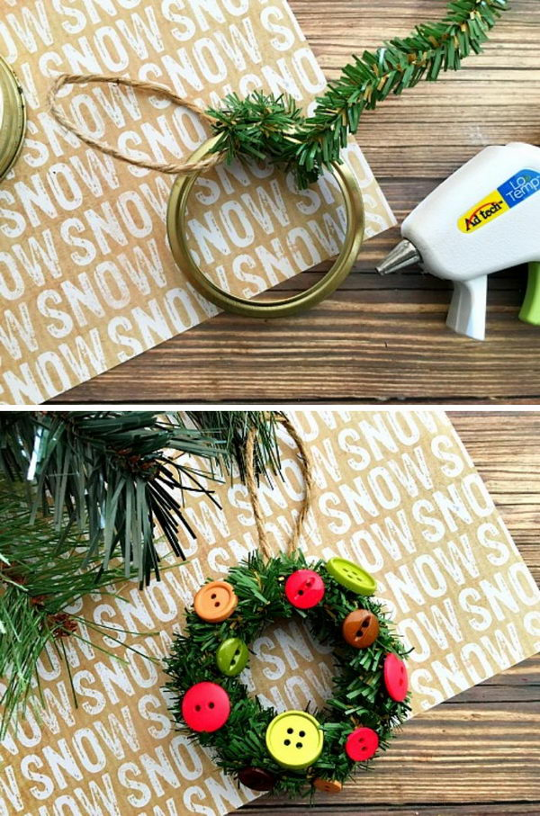 Pine Roping Garland And Buttons Decorated Mason Jar Lid Ring Ornament.