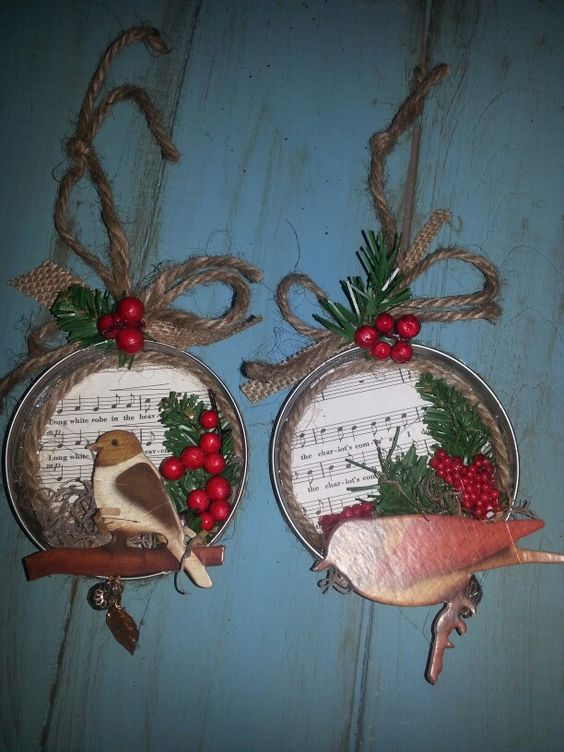 Twine Wrapped Jar Lid Ornaments.