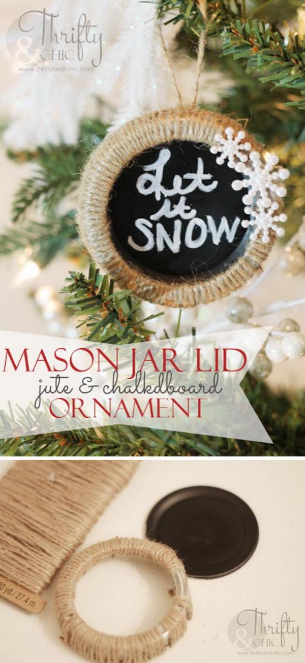 Mason Jar Lid Chalkboard Ornament.