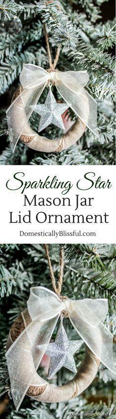 Sparkling Star Mason Jar Lid Ornament.