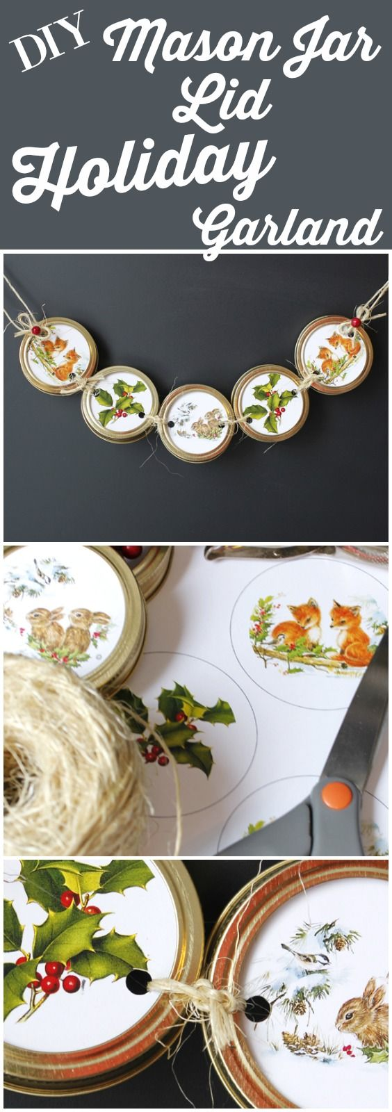 DIY Mason Jar Lid Holiday Garland.