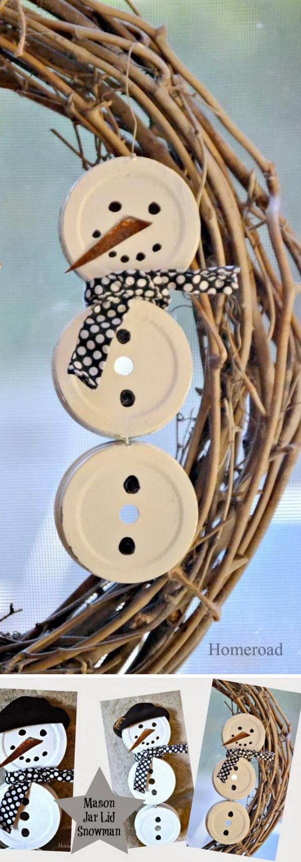 DIY Mason Jar Lid Snowman.