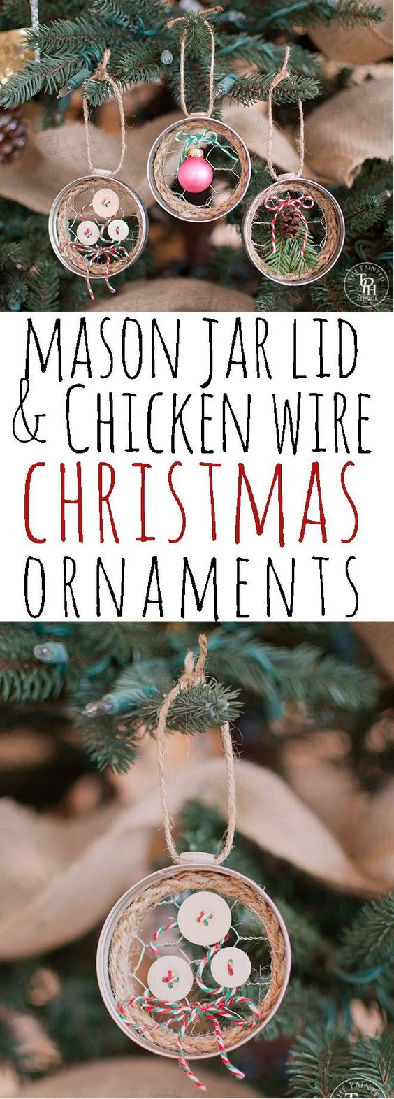Mason Jar Lid & Chicken Wire Christmas Ornaments.