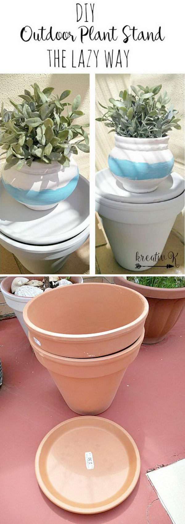 DIY Clay Pot Turned Plant Stand.