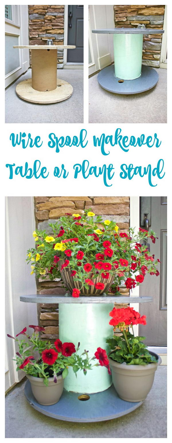 Wire Spool Table Plant Stand.