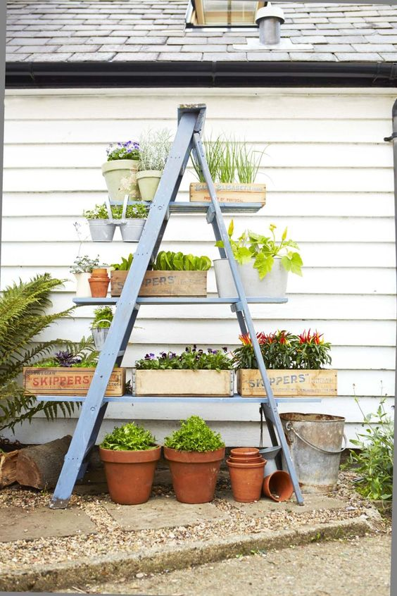 DIY Space Saving Planter Stand From A Wooden Ladder.