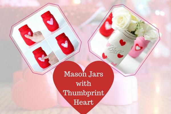 Mason Jars with Thumbprint Heart
