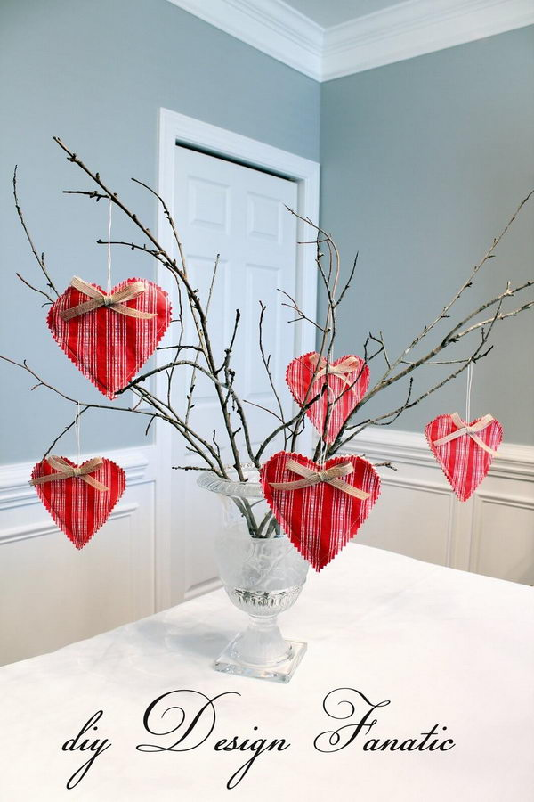Branches Decorated with Plaid Heart Ornaments.