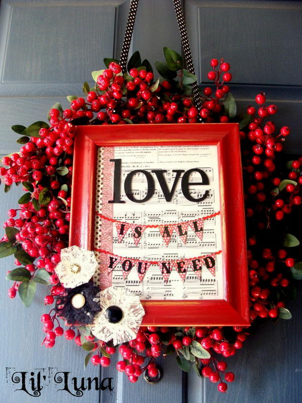 DIY Valentines Wreath And Frame.